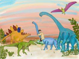 #162 Pintura de Castiel vivo en la época de los dinosaurios